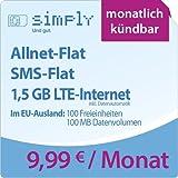 simply LTE 1500 [SIM, Micro-SIM und Nano-SIM] monatlich kündbar (1,5 GB LTE-Internet mit max. 50 MBit/s inkl. Datenautomatik, Telefonie-Flat, SMS-Flat, aus dem EU-Ausland in alle EU-Netze: 100 Freieinheiten und 100 MB Internetvolumen, 9,99 Euro/Monat) O2-Netz