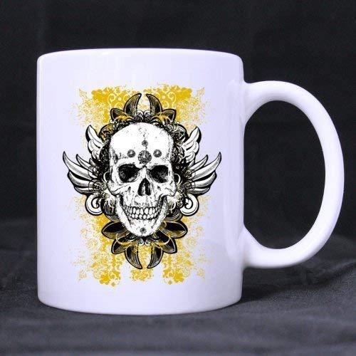 Becher Classic White Wine (Novelty Coffee Mug Classic Fashion Cool Halloween Skull Custom Birthday Gift Sarcasm Mug Cup 11OZ)