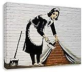 Druck auf leinwand Banksy Graffiti - Bild 70x100cm Sweeper Girl Bild fertig auf Keilrahmen Pop Art Gemälde Kunstdrucke, Wandbilder, Bilder zur