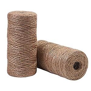 Elcoho 2 rollos de cuerda de yute para jardinería, envoltorio, decoración, manualidades, 656 pies en total, natural