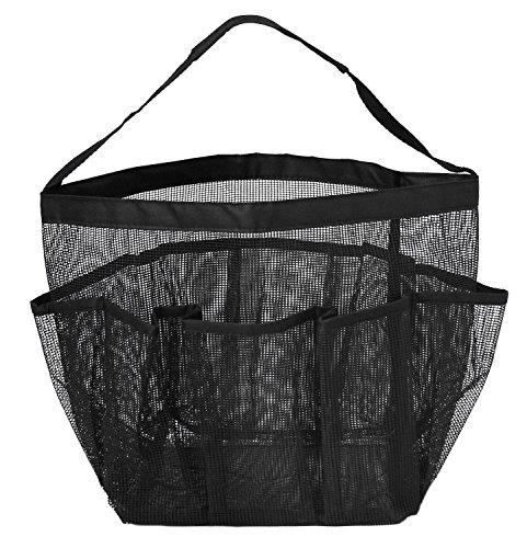 Astotsell carrello per doccia in rete, borsa per la doccia quick dry oxford appendiabiti per la doccia e bagno con 8 scomparti per la conservazione (nero)