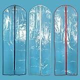 """Hangerworld 183 cm (72"""") Showerproof Wedding Gown Dress Garment Cover Bags, Pack of 3, Mixed Trim Colours"""