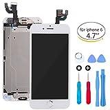 Bildschirm Ersatz für iPhone 6 Weiß LCD Touch Digitizer Vollanzeige mit Home-Taste + Vorne Kamera Nahsensor + Ohr Lautsprecher + Full Repair Tools + Displayschutzfolie (4,7 Zoll) (A1549, A1586, A1589)