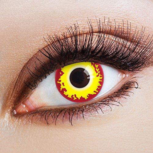 aricona Farblinsen gelbe Halloween Kontaktlinsen / farbig bunte Jahreslinsen rot