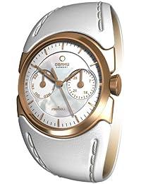 Obaku Harmony V109LVWRW - Reloj analógico de mujer de cuarzo con correa de piel blanca - sumergible a 30 metros