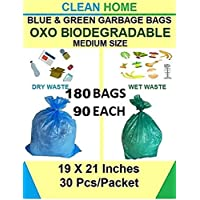 BLITY Clean Home- OXO Biodegradable Garbage Bags 6 Pack Medium Size 48 X 54 cm (19 X 21 inch) Disposable Garbage Bags…