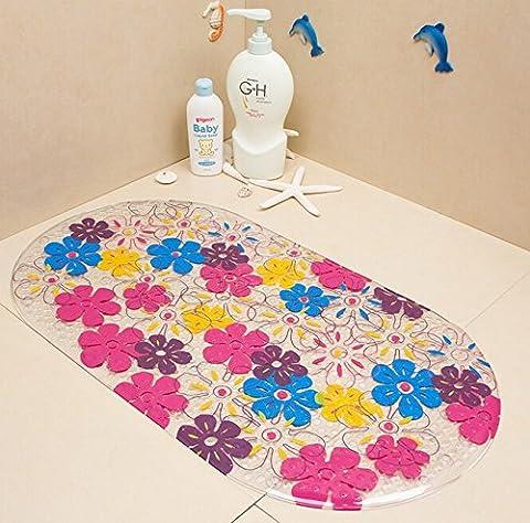 Tapis de Bain - YOKIRIN® Tapis PVC Aspiration de Bain Anti-dérapant Anti-Slip Anti-Glisse Massage des Pieds Motif Coloré - Fleurs Colorées