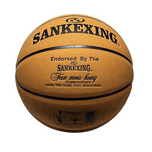 MYLL 1Leder, offizielle Größe 7Basketball Indoor Outdoor Sport Rutschfest Ball, dunkelgelb, standard ball