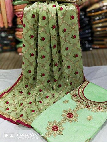 Light Green Akshara Salwar kameez Suits (Dress Material) Pink Color Chanderi Fabric...