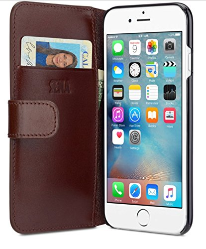 Sena Ultra Thin Antorini Sleek and Slim Handcrafter Leder Wallet für iPhone 6/6S Plus, braun -