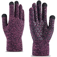 ZXQY Men's winter knit thick warm finger gloves outdoor sports gloves touch screen wool long finger gloves