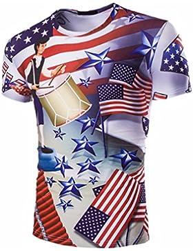 QIYUN.Z Barras Y Estrellas De La Bandera Americana USA 4 De Julio Los Hombres De Impresion De Manga Corta Camisa...