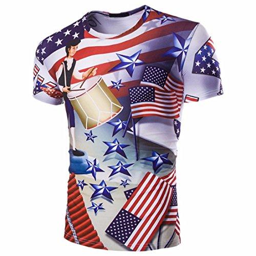 QIYUN.Z Stars And Stripes USA Flagge 4. Juli Druck Männer Kurzarm-Shirt Bluse