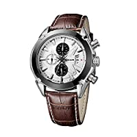 KKmoon Megir Branded New Fashion Man Watch Genuine Leather Band 3 Small Dials Quartz Wristwatch Analog Display Date Chronograph Black/Brown