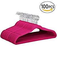 Yaheetech 100 Pcs 45cm Standard Non-Slip Velvet Coat Hangers 360° Swivel Hook in Black/Beige/Grey/Pink