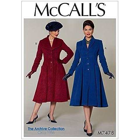 McCall' s Patterns Mccall' s Pattern 7478E5, taglie piccole Cappotti, taglie UK 14–22, Multi Colore