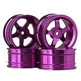 BQLZR Purple Aluminium Alloy Felgen mit 5 Speichen f¨¹r RC 1:10 On-Road Rennwagen Pack von 4