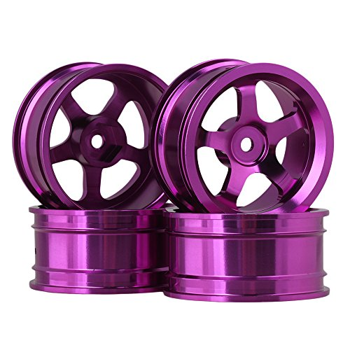 BQLZR 4 PCS Purple Aluminum Alloy Wheel Rims With 5 Spoke For RC 1:10 On-road Car (10 1 Rc Felgen Car)