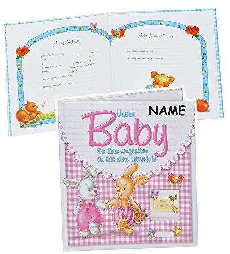Erinnerungsalbum Baby incl. Namen - an das erste Lebensjahr - für Mädchen - erste Fotos - Gebunden - Babyalbum Kinderalbum - rosa pink Babys Neugeborene zur Geburt / Baby-Album