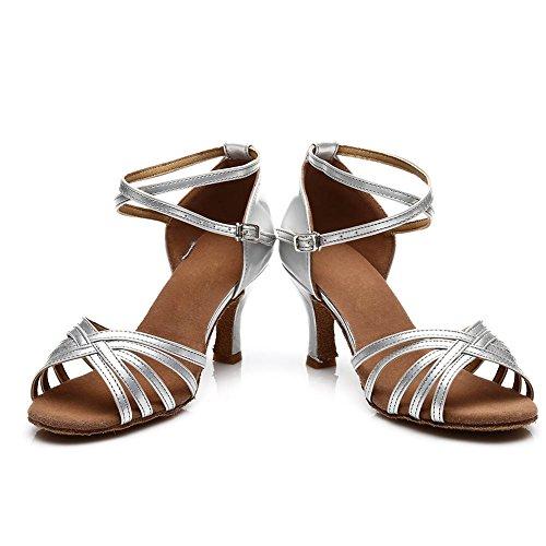 SWDZM Damen Ausgestelltes Tanzschuhe/Standard Latin Dance Schuhe Satin Ballsaal ModellD213-7 Silber EU38.5 - 6