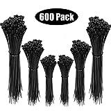 GeekerChip Nylon Kabelbinder [600 Stück],Hohe Qualität Selbstsichernde Kunststoff-Kabelbinder 100mm/150mm/200mm (Schwarz)
