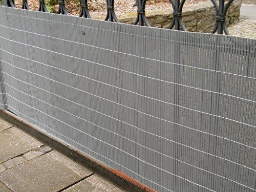 EXCOLO PVC Sichtschutzmatte Sichtschutz Plus Befestigungsset für Zaun Balkon Garten als Blickschutz in anthrazit, grau, schwarz
