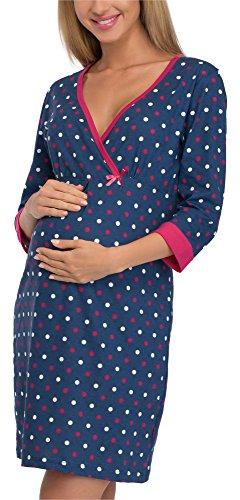 Cornette camicia da notte premaman 652/15 (blu scuro/pois, xxl)