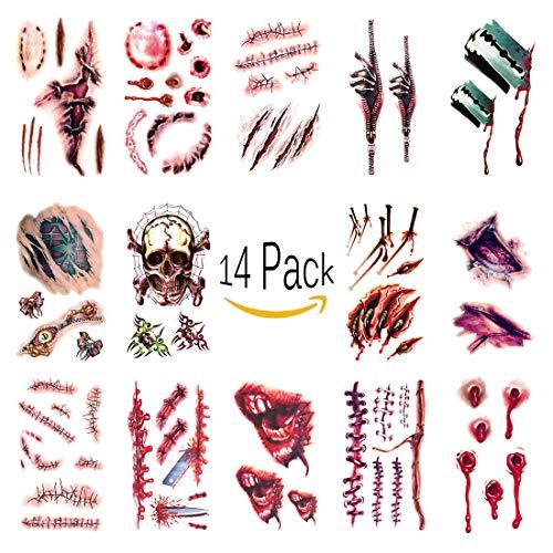 attoos Wunden Horror Aufkleber Wasserdichte Temporäre Narben Kratzer Tattoo Terror Scar Tattoo Stickers Für Halloween Party Prop, Zombie Cosplay ()