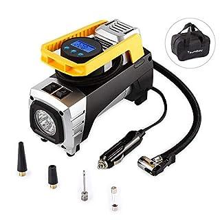Tsumbay Auto Kompressor 12V/150 PSI, Luftkompressor Tragbare Luftpumpe mit LED Licht und Digital-Manometer Air Compressor Reifenpumpe Inflatable für Auto, Fahrrad, Motorrad, Rennrad, Sport-Bälle