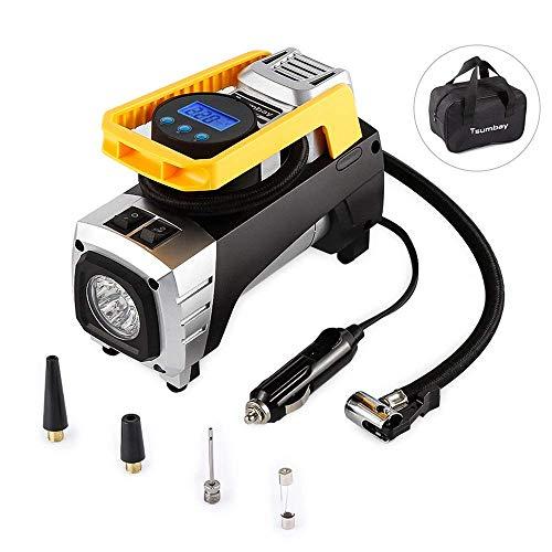 Compresor de Aire portáil Landnics 12V 150 PSI Inflador Bomba de Aire Digital con Auto Apagado, Lámpara LED para Coche, Motocicleta, Bicicleta