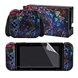 eXtremeRate Full Set Faceplate Skin Decals Stickers and 2 Pcs Screen Protector for Nintendo Switch/NS Console & Joy-con Controller & Dock Protection Kit - Psychedelic Galaxy