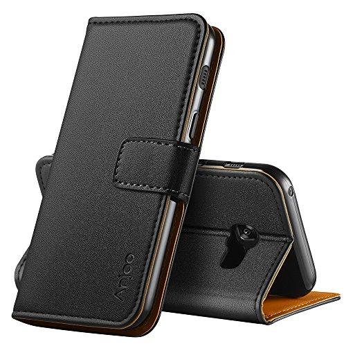 Anjoo Kompatibel für Samsung Galaxy A3 2017 Hülle, Handyhülle für Galaxy A3 2017 Schutzhülle, Tasche Leder Flip Case Brieftasche Etui mit Kartenfach & Ständer für Samsung A3 2017 (Schwarz)