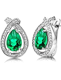 ByJoy Earrings for Women Sterling Silver Emerald with Cubic zirconia brilliant cut 925 Silver aO02XtXz