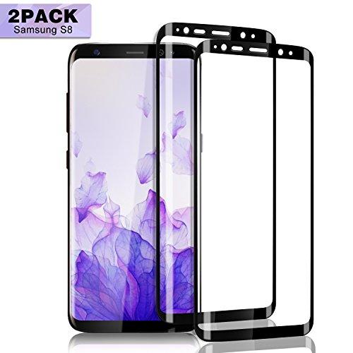 Nutmix Galaxy S8 Panzerglas Schutzfolie [2 stück], Displayschutzfolie [Ultra-Klar] [9H Härte] [Anti-Kratzer] [Einfache blasenfreie Installation] Schutzfolie für Samsung Galaxy S8 - Schwarz
