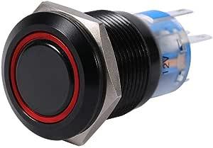Keenso 19mm 12v Metallschwarz Muschel Led Wasserdicht Edelstahl Selbstsichernde Verriegelung Druckschalter Taste Schalter Rot Auto