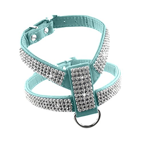 Hrph Fashion Bling Diamond Glitter Crystal Collar Puppy Cat Dog Harness Chest Strap Lead Pet