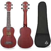 RAS Ukelele Soprano 21 pulgadas Caoba Profesional Cuatro Cuerdas Guitarra para Adultos y Niños (Marrón)