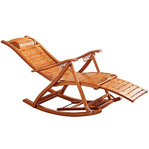 Deckchairs FEIFEI Bambus Schaukelstuhl Erwachsene Lounge Stuhl Nickerchen Stuhl Faul Stuhl Home Freizeit Schaukelstuhl Balkon Zusammenklappbar (Farbe : A) (Stuhl-pads Schaukelstühle)
