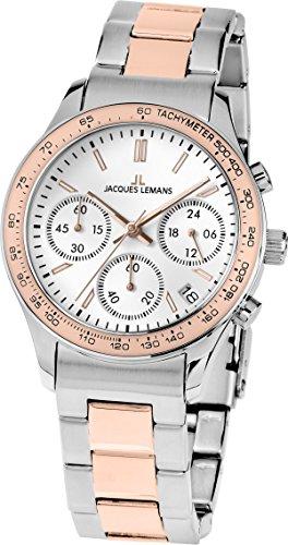 Jacques Lemans Rome Sports - Reloj de cuarzo para mujer, correa de acero inoxidable multicolor