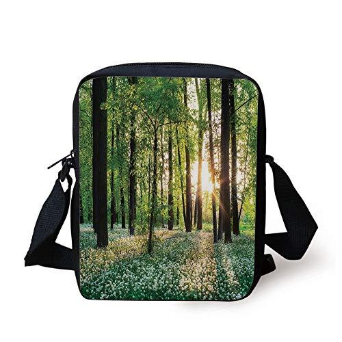 Farm House Decor,Sunny Forest with Wild Garlic Enchanting Wildflowers Blossoms Landscape Scene,Green White Print Kids Crossbody Messenger Bag Purse -