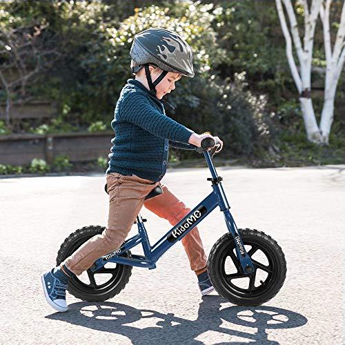 """KidoMe 12"""" Bicicletta da Equilibrio Blu Prima Bici Senza Pedale Regalo per Bambini Acciaio al Carbonio Pneumatici Senza necessità di gonfiarsi Sella e Manubrio Regolabile 2, 3, 4 ,5 e 6 Anni - 6"""