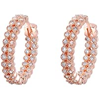 SaySure - Jewelry Rose Golden double Inlay stone Austrian crystal (4 Double Wall Tip)