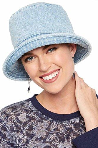 Denim Bucket Cancer Hat für Frauen mit Krebs, elastisch, plissiert und Haarausfall, HA-26-3745 (Headcover Turban)