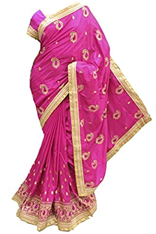 RBS3441 Magenta und Goldpartei Saree Bollywood Indian Designer Party Saree Stitched Blouse (Chest Size 40