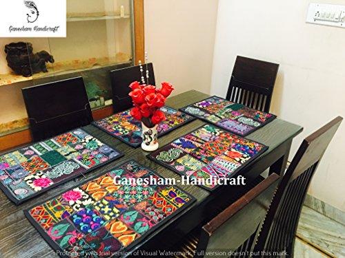 ganesham handicraft- indischen handgefertigt New Vintage Patchwork Esstisch Baumwolle Tischsets, Tischläufer, Tischdecke, Küche & Tisch Linens, Schreibtisch Tisch Pads, handgefertigt Tischset (5-teiliges Set)