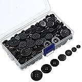 Bememo 400 Stücke Knöpfe Runder Harz Knopf Nähen Kunst Knöpfe mit Aufbewahrungsbox für Valentinstag, 2 und 4 Löcher, Verschiedene Größen (Schwarz)