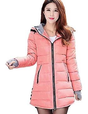 TT & ShangYi largo acolchado de mujer, Abrigo Simple Casual liso algodón polipropileno manga larga, L