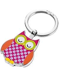 Porte-clés chouette, fonte métallique/émail, chromé brillant, rose vif