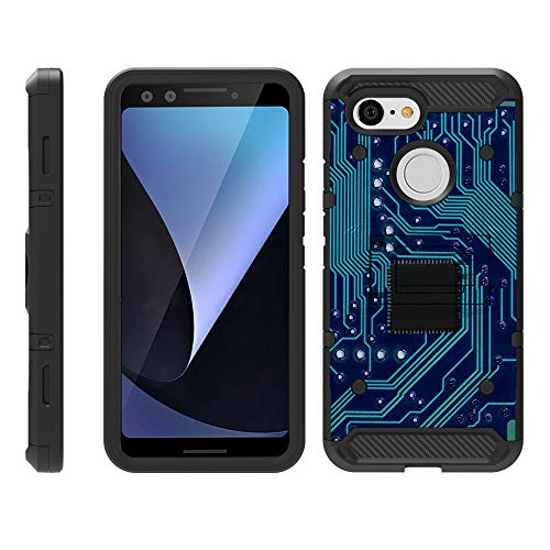�lle für Google Pixel 3 [Armor Pro] Heavy Duty Full Body Armor Hybrid Kickstand Rugged Cover Gürtelclip Case -, Phone Circuit Board ()