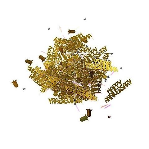 50. Glücklichen Jahrestag Metallisch Glanz Tischkonfetti - Gold + Glocken & Schillernd Barren 14g